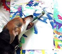 Sammy Painting a PAWtographed Picture